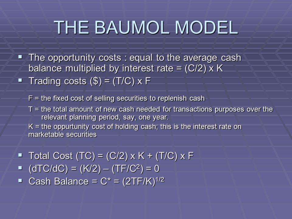 LIMITATIONS THE BAUMOL MODEL 1.The model assumes the firm has a constant disbursement rate 2.