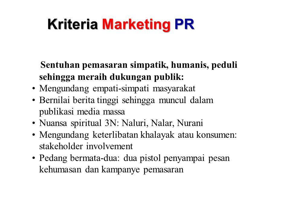 Kriteria Marketing PR Sentuhan pemasaran simpatik, humanis, peduli sehingga meraih dukungan publik: Mengundang empati-simpati masyarakat Bernilai beri