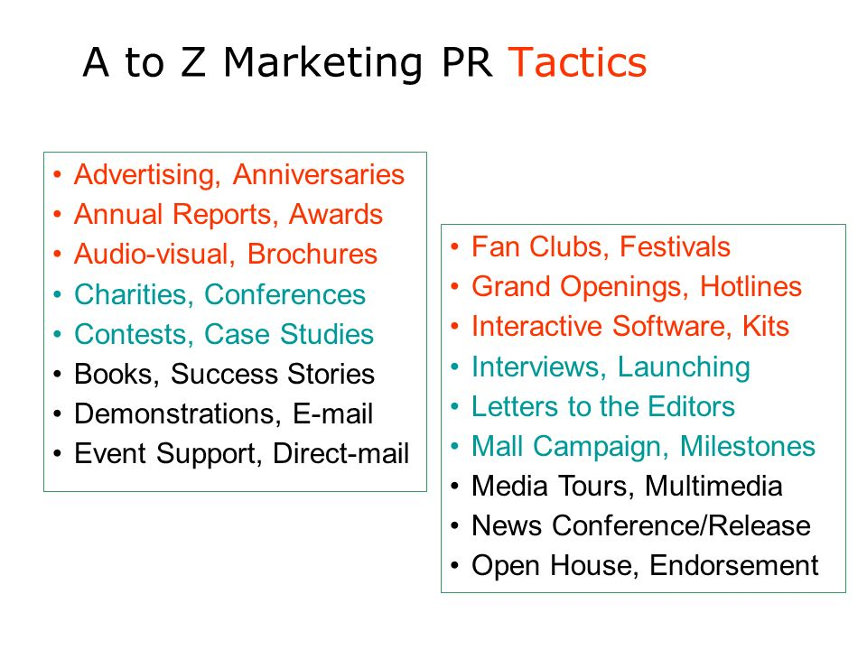 A to Z Marketing PR Tactics Advertising, Anniversaries Annual Reports, Awards Audio-visual, Brochures Charities, Conferences Contests, Case Studies Bo