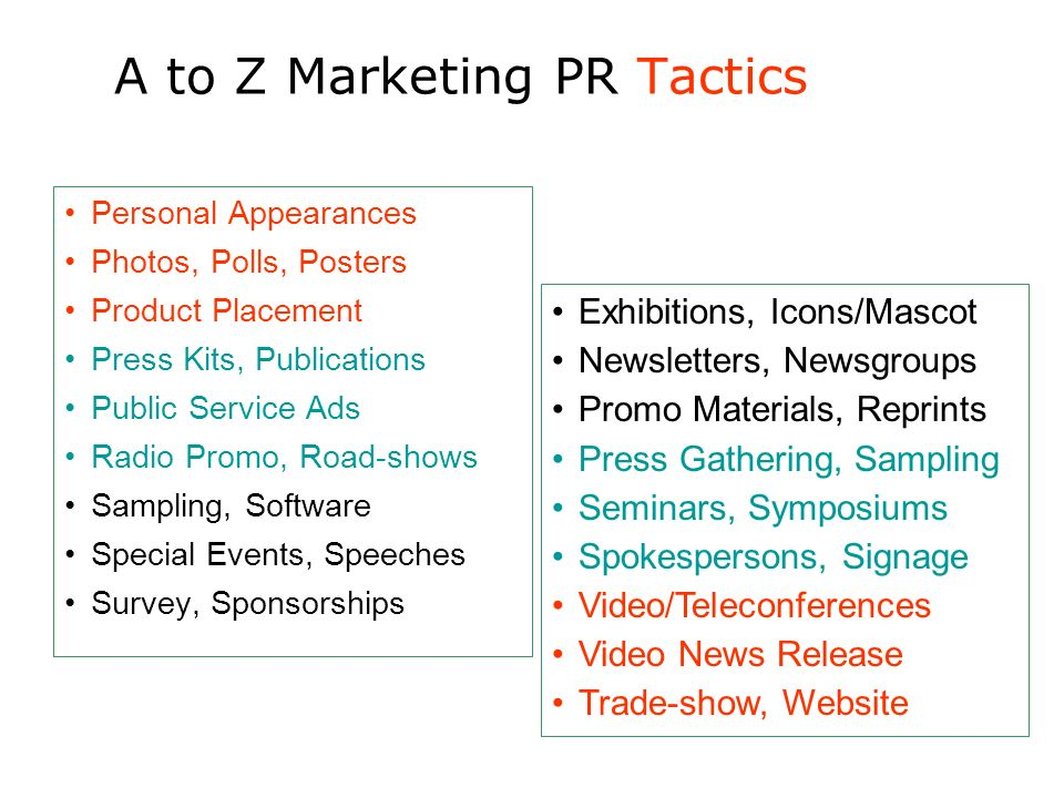 A to Z Marketing PR Tactics Personal Appearances Photos, Polls, Posters Product Placement Press Kits, Publications Public Service Ads Radio Promo, Roa