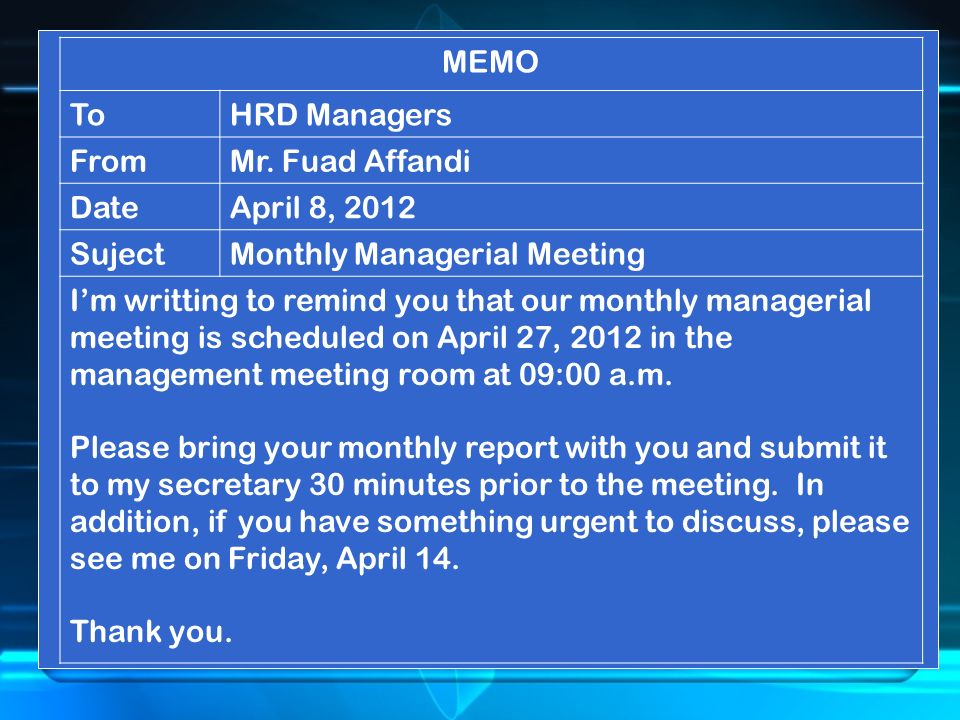 MEMO ToHRD Managers FromMr.