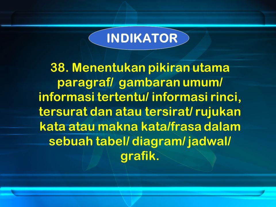 38. Menentukan pikiran utama paragraf/ gambaran umum/ informasi tertentu/ informasi rinci, tersurat dan atau tersirat/ rujukan kata atau makna kata/fr