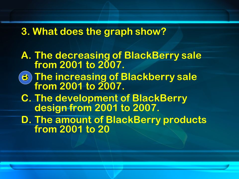 3. What does the graph show. A.The decreasing of BlackBerry sale from 2001 to 2007.