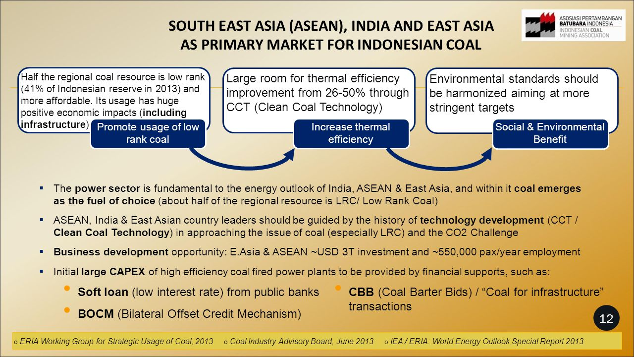 SOUTH EAST ASIA (ASEAN), INDIA AND EAST ASIA AS PRIMARY MARKET FOR INDONESIAN COAL Half the regional coal resource is low rank (41% of Indonesian reserve in 2013) and more affordable.