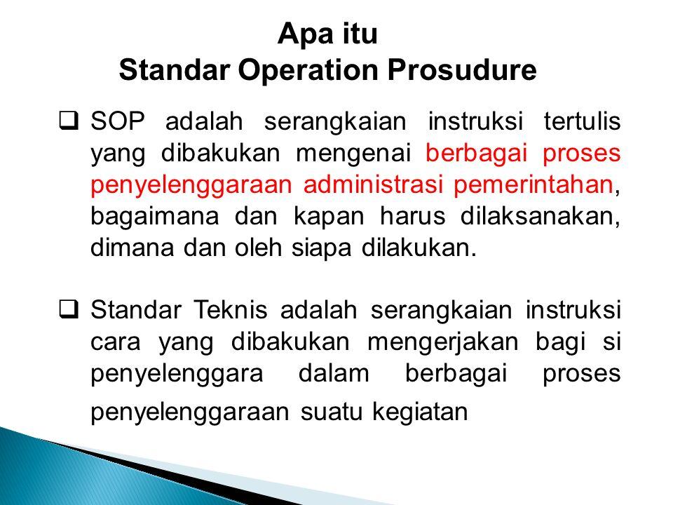  SOP adalah serangkaian instruksi tertulis yang dibakukan mengenai berbagai proses penyelenggaraan administrasi pemerintahan, bagaimana dan kapan harus dilaksanakan, dimana dan oleh siapa dilakukan.