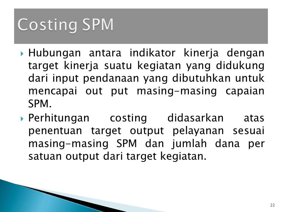  Hubungan antara indikator kinerja dengan target kinerja suatu kegiatan yang didukung dari input pendanaan yang dibutuhkan untuk mencapai out put masing-masing capaian SPM.
