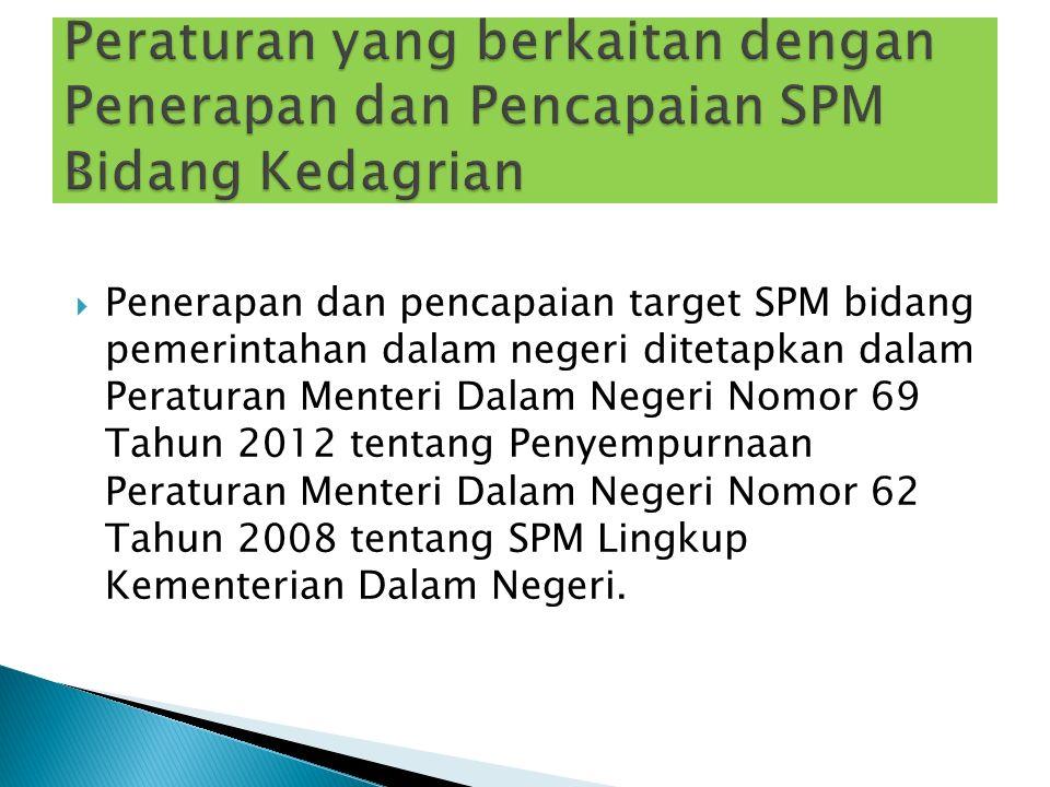 Penerapan dan pencapaian target SPM bidang pemerintahan dalam negeri ditetapkan dalam Peraturan Menteri Dalam Negeri Nomor 69 Tahun 2012 tentang Pen