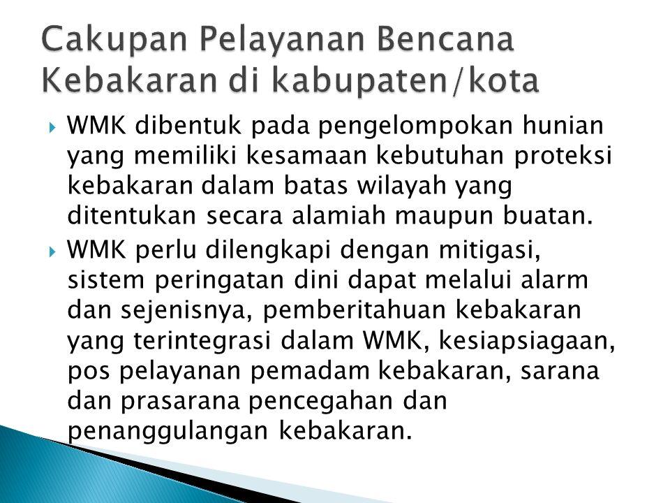  WMK dibentuk pada pengelompokan hunian yang memiliki kesamaan kebutuhan proteksi kebakaran dalam batas wilayah yang ditentukan secara alamiah maupun buatan.