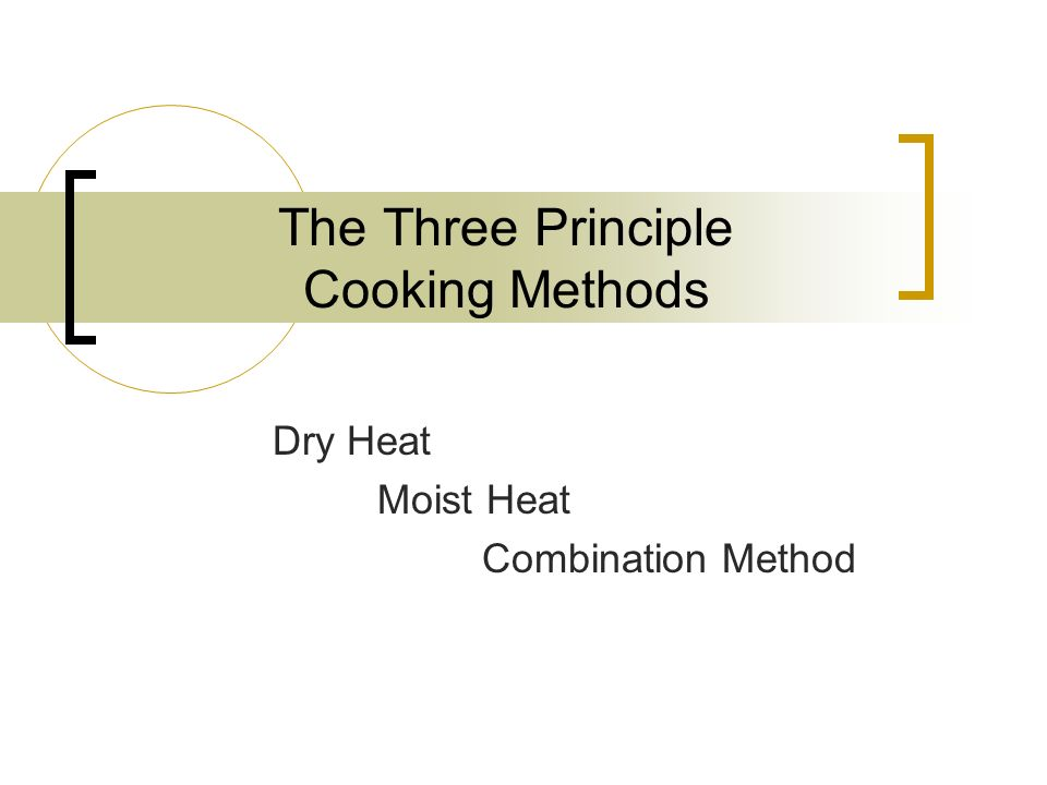 The Dry Heat Cooking Method  Dry Heat cooking refers to any cooking technique where the heat is transferred to the food item without using any moisture.