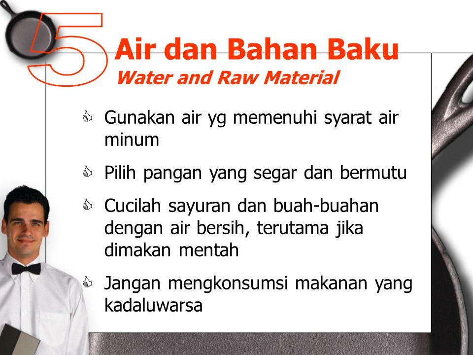 Air dan Bahan Baku Water and Raw Material  Gunakan air yg memenuhi syarat air minum  Pilih pangan yang segar dan bermutu  Cucilah sayuran dan buah-buahan dengan air bersih, terutama jika dimakan mentah  Jangan mengkonsumsi makanan yang kadaluwarsa
