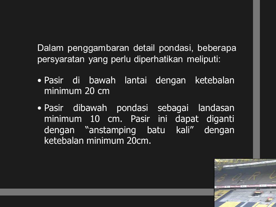 Dalam penggambaran detail pondasi, beberapa persyaratan yang perlu diperhatikan meliputi: Pasir di bawah lantai dengan ketebalan minimum 20 cm Pasir d