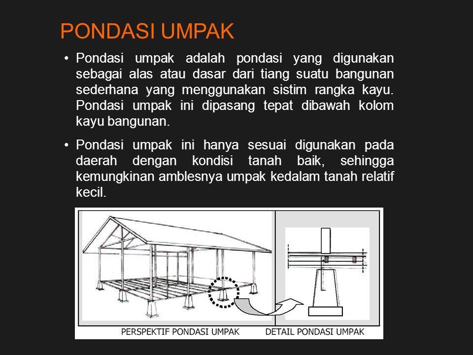 PONDASI UMPAK Pondasi umpak adalah pondasi yang digunakan sebagai alas atau dasar dari tiang suatu bangunan sederhana yang menggunakan sistim rangka k