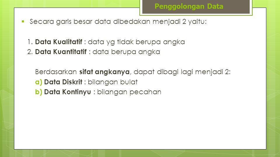  Secara garis besar data dibedakan menjadi 2 yaitu: 1. Data Kualitatif : data yg tidak berupa angka 2. Data Kuantitatif : data berupa angka Berdasark