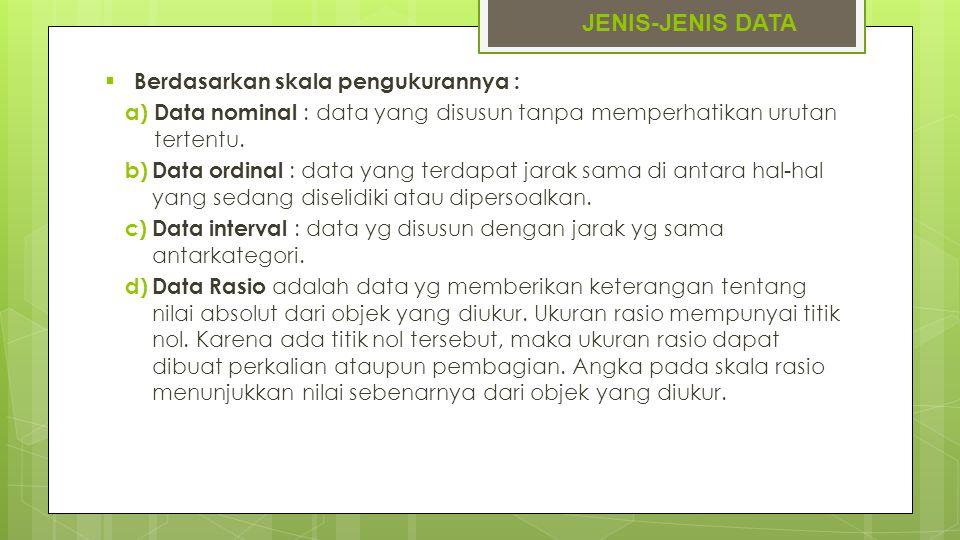 JENIS-JENIS DATA  Berdasarkan skala pengukurannya : a) Data nominal : data yang disusun tanpa memperhatikan urutan tertentu. b) Data ordinal : data y
