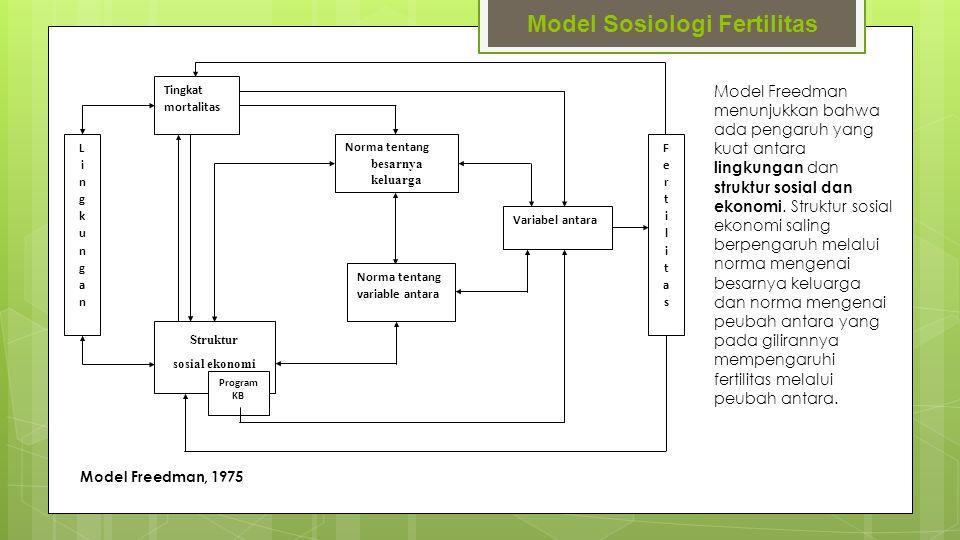 Model Sosiologi Fertilitas Lingkungan Lingkungan Tingkat mortalitas Norma tentang besarnya keluarga Norma tentang variable antara Variabel antara Fert