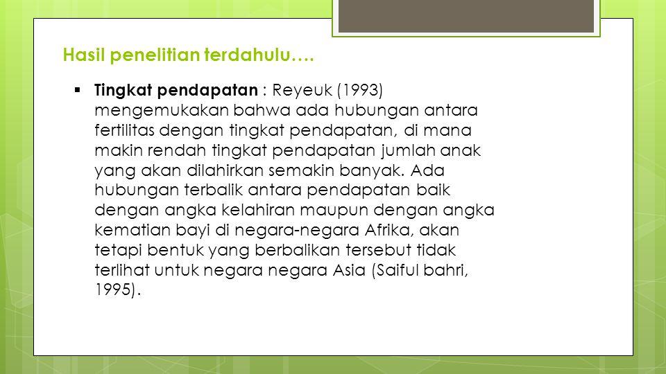 Hasil penelitian terdahulu….  Tingkat pendapatan : Reyeuk (1993) mengemukakan bahwa ada hubungan antara fertilitas dengan tingkat pendapatan, di mana