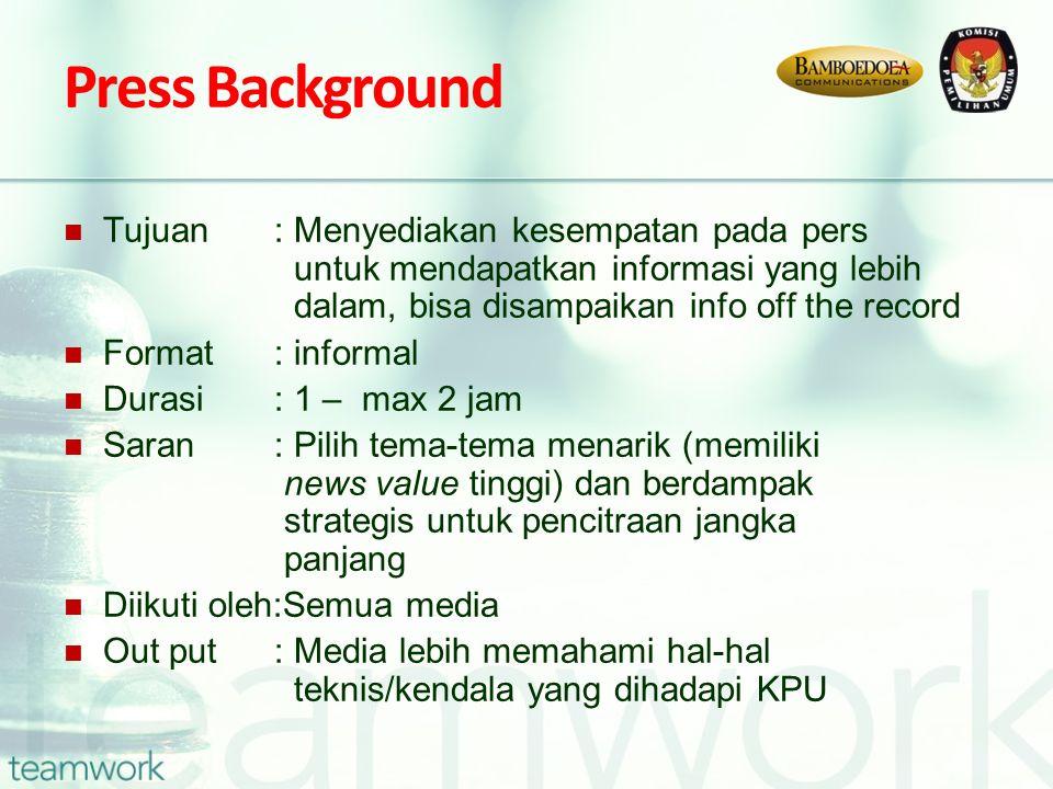 Press Background Tujuan : Menyediakan kesempatan pada pers untuk mendapatkan informasi yang lebih dalam, bisa disampaikan info off the record Format: