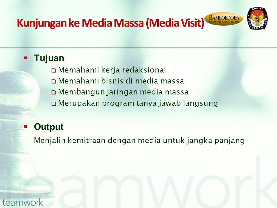 Kunjungan ke Media Massa (Media Visit)  Tujuan  Memahami kerja redaksional  Memahami bisnis di media massa  Membangun jaringan media massa  Merupakan program tanya jawab langsung  Output Menjalin kemitraan dengan media untuk jangka panjang