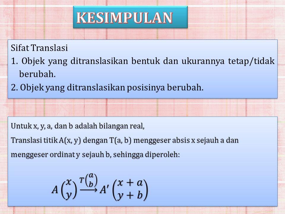 Sifat Translasi 1. Objek yang ditranslasikan bentuk dan ukurannya tetap/tidak berubah. 2. Objek yang ditranslasikan posisinya berubah. Sifat Translasi