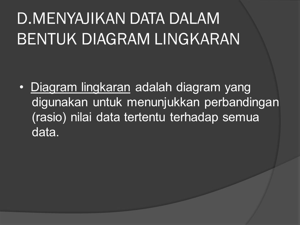 D.MENYAJIKAN DATA DALAM BENTUK DIAGRAM LINGKARAN Diagram lingkaran adalah diagram yang digunakan untuk menunjukkan perbandingan (rasio) nilai data tertentu terhadap semua data.
