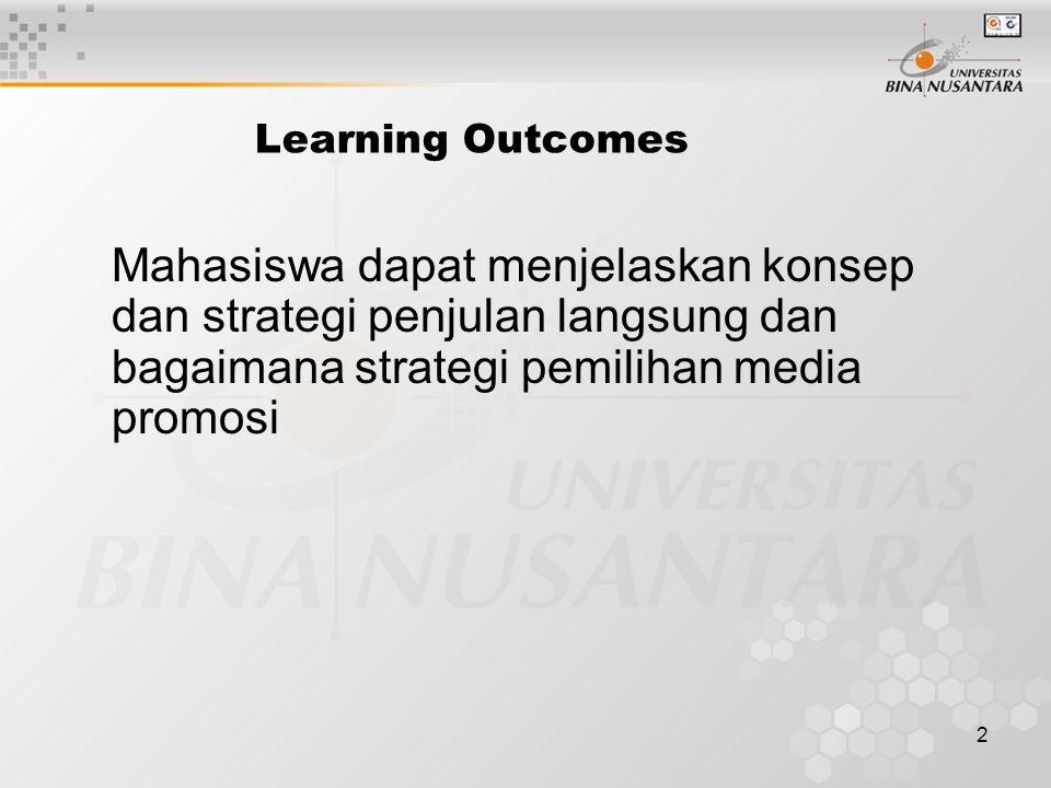 2 Learning Outcomes Mahasiswa dapat menjelaskan konsep dan strategi penjulan langsung dan bagaimana strategi pemilihan media promosi