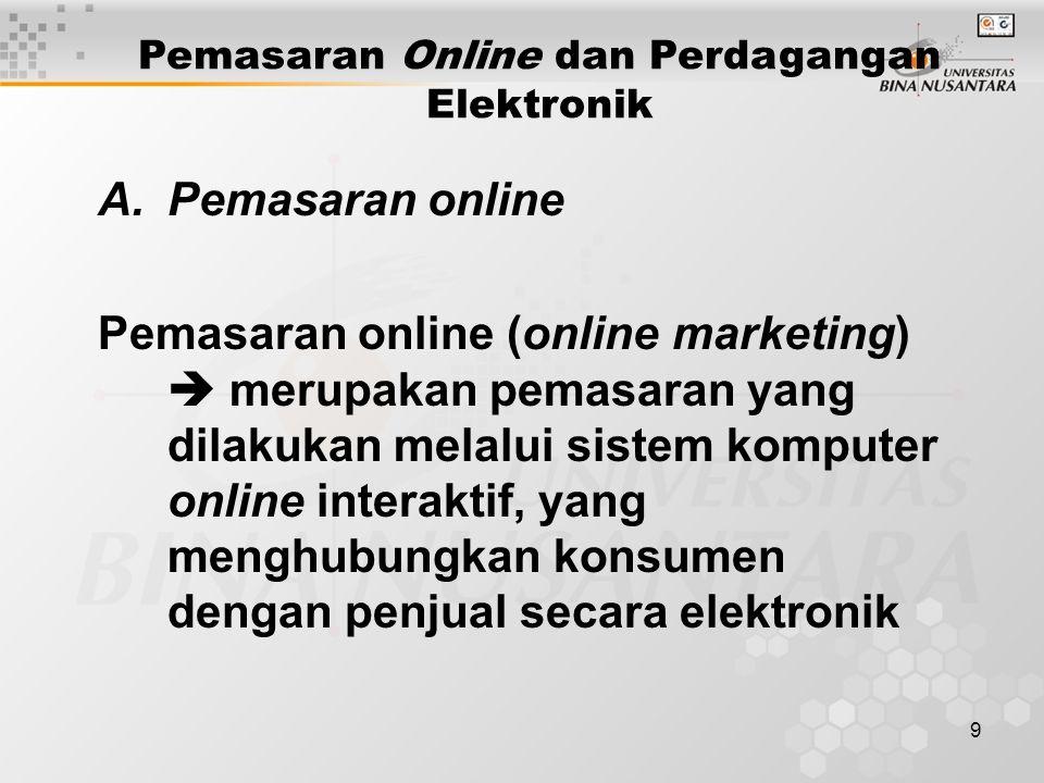 9 Pemasaran Online dan Perdagangan Elektronik A.Pemasaran online Pemasaran online (online marketing)  merupakan pemasaran yang dilakukan melalui sistem komputer online interaktif, yang menghubungkan konsumen dengan penjual secara elektronik