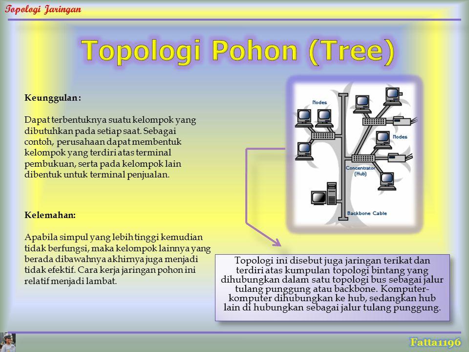 Topologi ini disebut juga jaringan terikat dan terdiri atas kumpulan topologi bintang yang dihubungkan dalam satu topologi bus sebagai jalur tulang pu