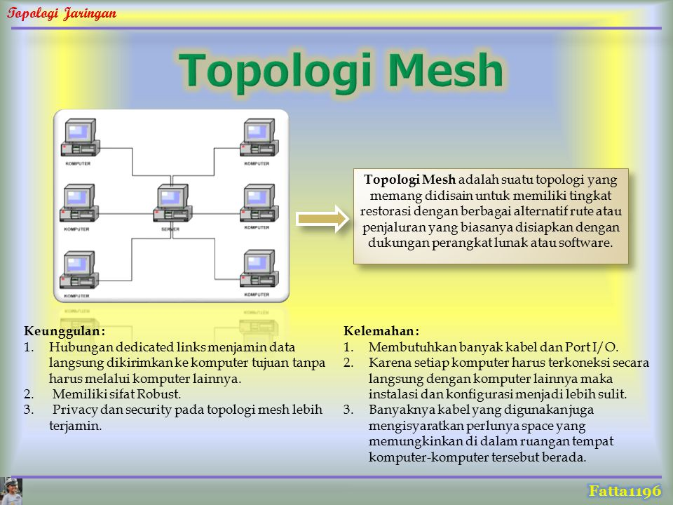 Topologi Mesh adalah suatu topologi yang memang didisain untuk memiliki tingkat restorasi dengan berbagai alternatif rute atau penjaluran yang biasany