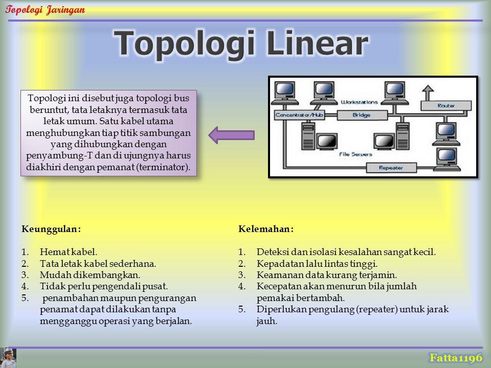 Topologi ini disebut juga topologi bus beruntut, tata letaknya termasuk tata letak umum. Satu kabel utama menghubungkan tiap titik sambungan yang dihu