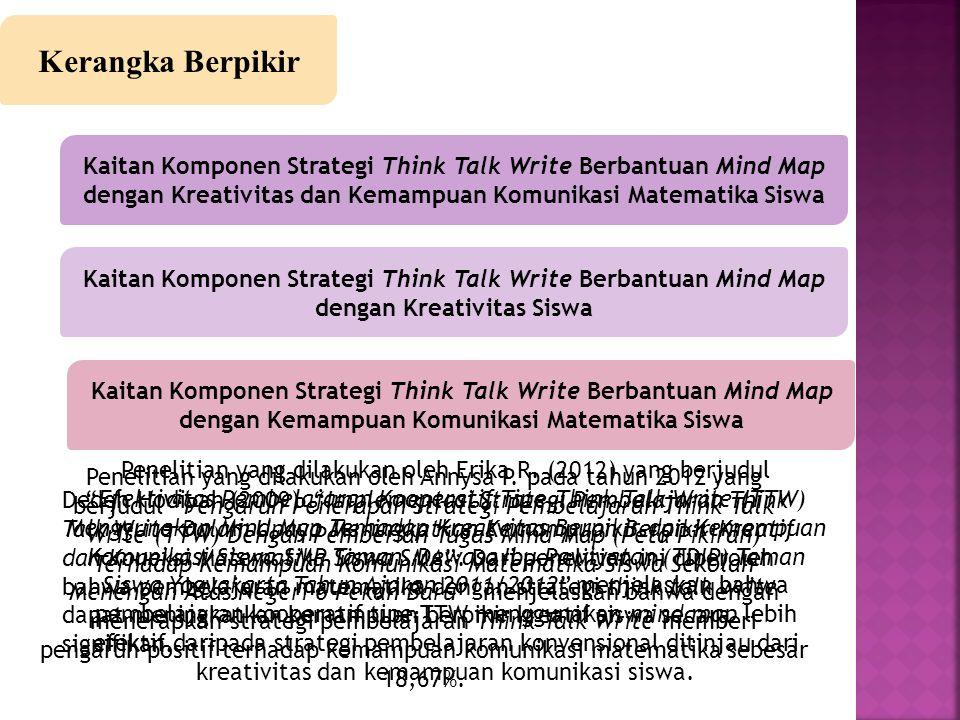 Hipotesis Penelitian Terdapat perbedaan kreativitas dan kemampuan komunikasi matematika siswa yang mengikuti pembelajaran dengan strategi Think Talk Write (TTW) berbantuan mind map dengan siswa yang mengikuti pembelajaran konvensional Terdapat perbedaan kreativitas siswa yang mengikuti pembelajaran dengan strategi Think Talk Write (TTW) berbantuan mind map dengan siswa yang mengikuti pembelajaran konvensional Terdapat perbedaan kemampuan komunikasi matematika siswa yang mengikuti pembelajaran dengan strategi Think Talk Write (TTW) berbantuan mind map dengan siswa yang mengikuti pembelajaran konvensional