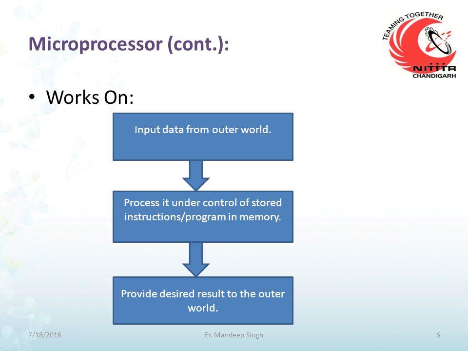 Microprocessor(cont.): 7/18/20167Er. Mandeep Singh