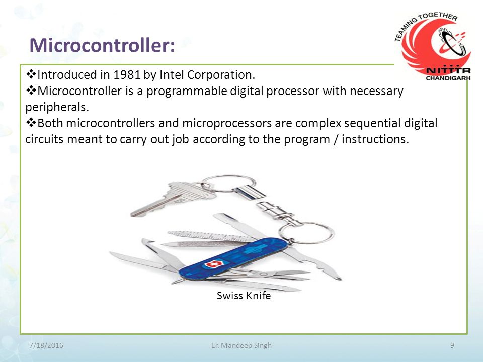 Microcontroller:  Introduced in 1981 by Intel Corporation.  Microcontroller is a programmable digital processor with necessary peripherals.  Both m