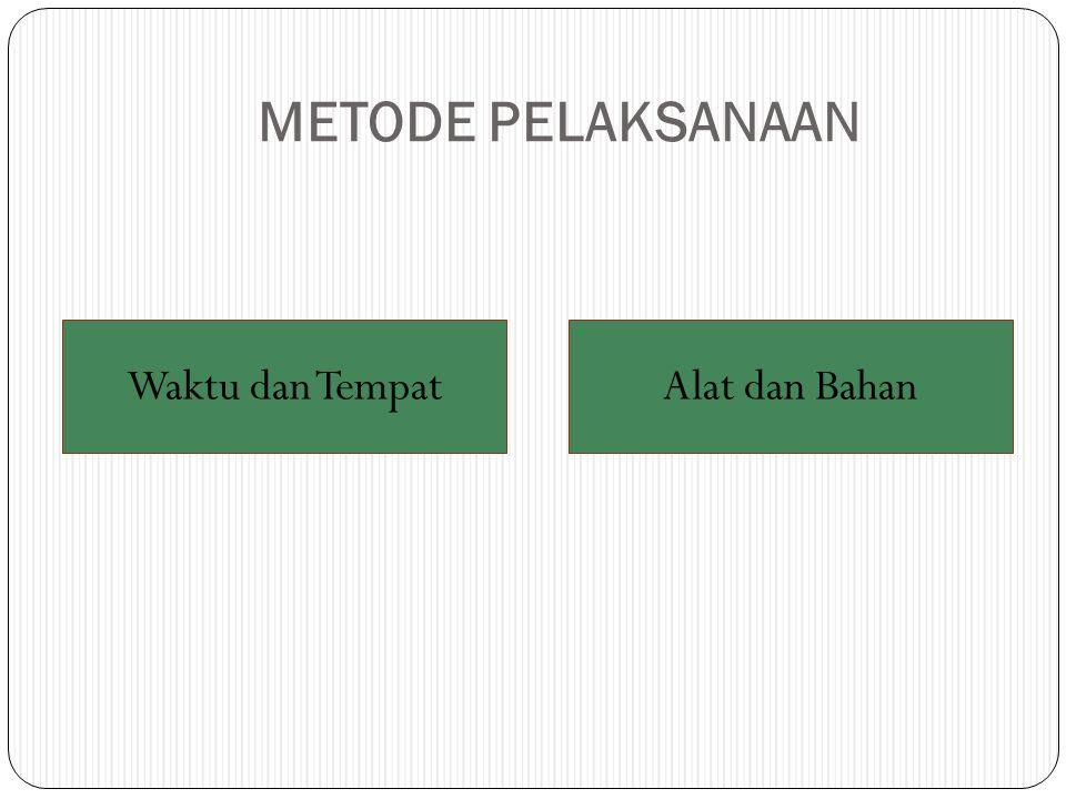 METODE PELAKSANAAN Waktu dan TempatAlat dan Bahan