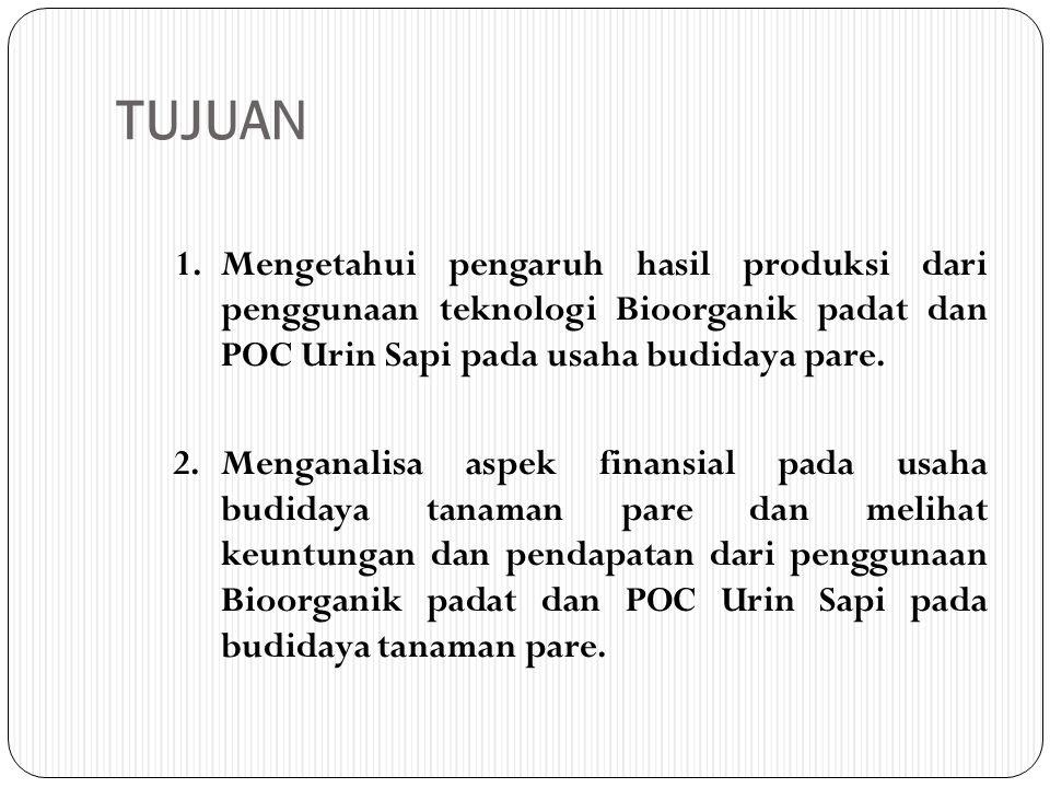 TUJUAN 1.Mengetahui pengaruh hasil produksi dari penggunaan teknologi Bioorganik padat dan POC Urin Sapi pada usaha budidaya pare. 2.Menganalisa aspek