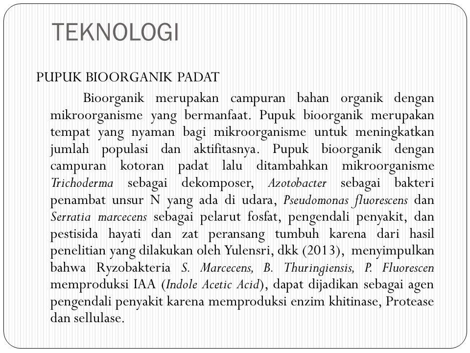 TEKNOLOGI PUPUK BIOORGANIK PADAT Bioorganik merupakan campuran bahan organik dengan mikroorganisme yang bermanfaat.