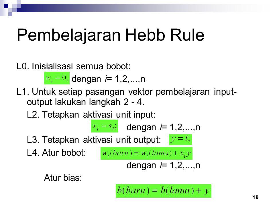 18 Pembelajaran Hebb Rule L0. Inisialisasi semua bobot: dengan i= 1,2,...,n L1. Untuk setiap pasangan vektor pembelajaran input- output lakukan langka