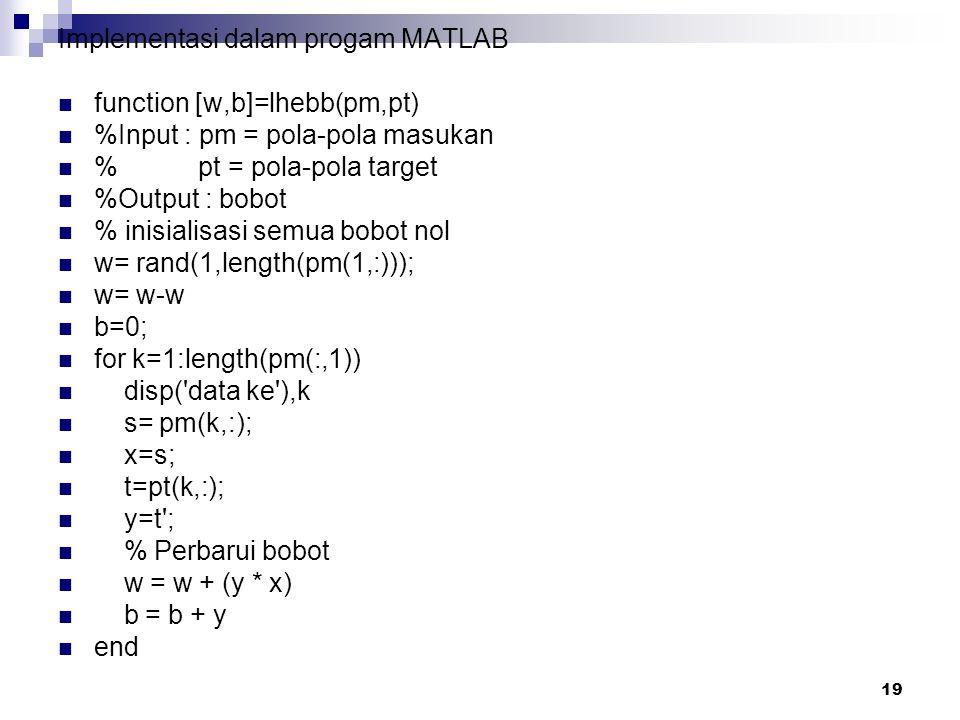 19 Implementasi dalam progam MATLAB function [w,b]=lhebb(pm,pt) %Input : pm = pola-pola masukan % pt = pola-pola target %Output : bobot % inisialisasi