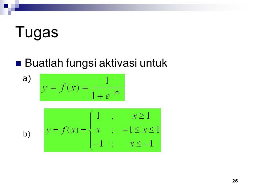 25 Tugas Buatlah fungsi aktivasi untuk a) b)
