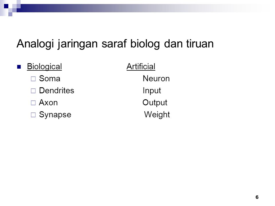 6 Analogi jaringan saraf biolog dan tiruan Biological Artificial  Soma Neuron  Dendrites Input  Axon Output  Synapse Weight