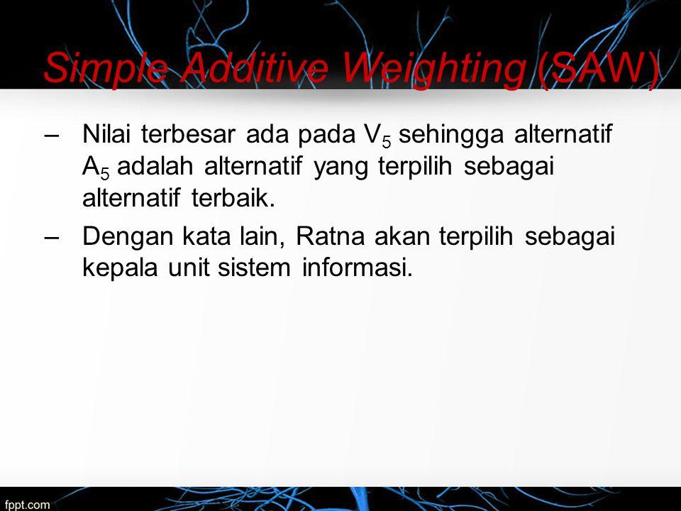 Simple Additive Weighting (SAW) –Nilai terbesar ada pada V 5 sehingga alternatif A 5 adalah alternatif yang terpilih sebagai alternatif terbaik. –Deng