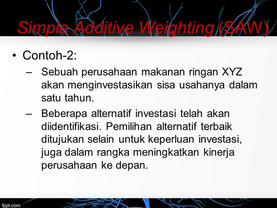 Simple Additive Weighting (SAW) Contoh-2: –Sebuah perusahaan makanan ringan XYZ akan menginvestasikan sisa usahanya dalam satu tahun. –Beberapa altern