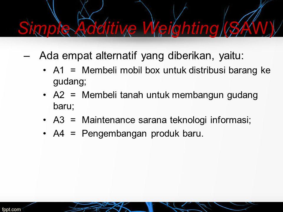 Simple Additive Weighting (SAW) –Ada empat alternatif yang diberikan, yaitu: A1=Membeli mobil box untuk distribusi barang ke gudang; A2=Membeli tanah