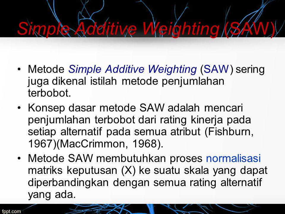 Simple Additive Weighting (SAW) Formula untuk melakukan normalisasi tersebut adalah sebagai berikut: dengan r ij adalah rating kinerja ternormalisasi dari alternatif A i pada atribut C j ; i=1,2,...,m dan j=1,2,...,n.