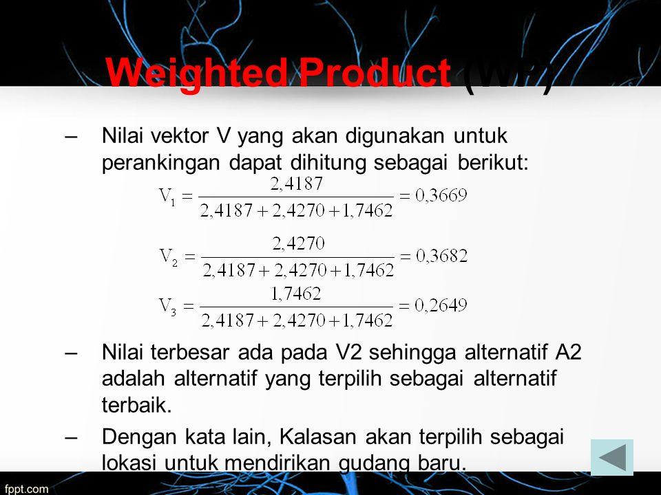 –Nilai vektor V yang akan digunakan untuk perankingan dapat dihitung sebagai berikut: –Nilai terbesar ada pada V2 sehingga alternatif A2 adalah altern