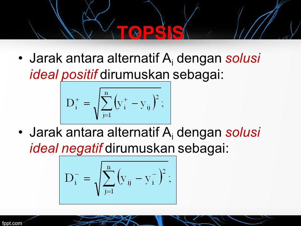 Jarak antara alternatif A i dengan solusi ideal positif dirumuskan sebagai: Jarak antara alternatif A i dengan solusi ideal negatif dirumuskan sebagai