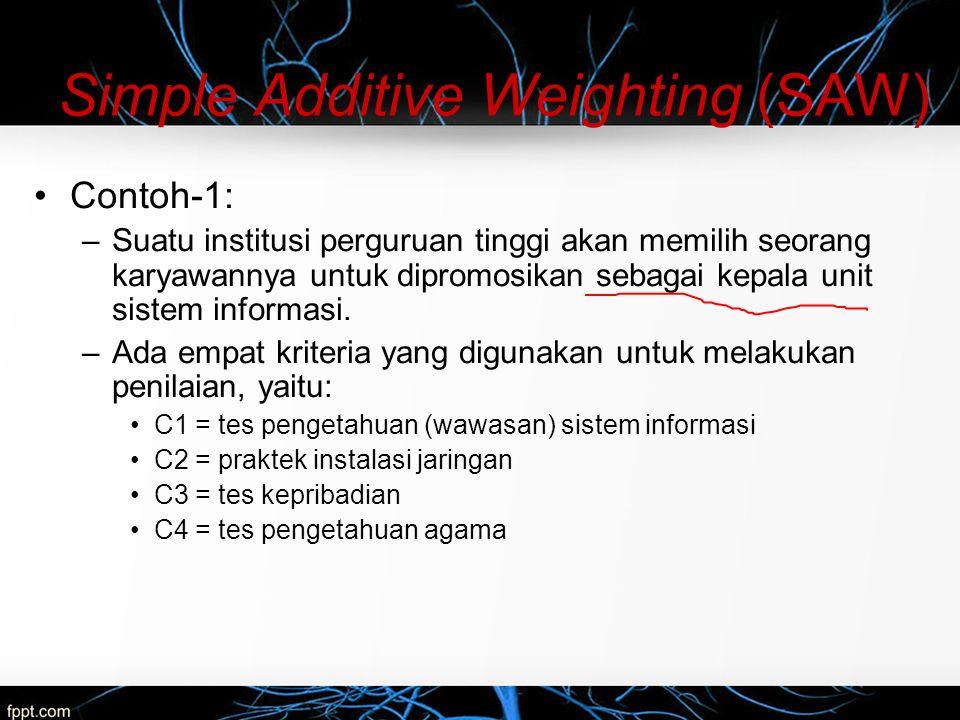 Simple Additive Weighting (SAW) –Pengambil keputusan memberikan bobot untuk setiap kriteria sebagai berikut: C1 = 35%; C2 = 25%; C3 = 25%; dan C4 = 15%.