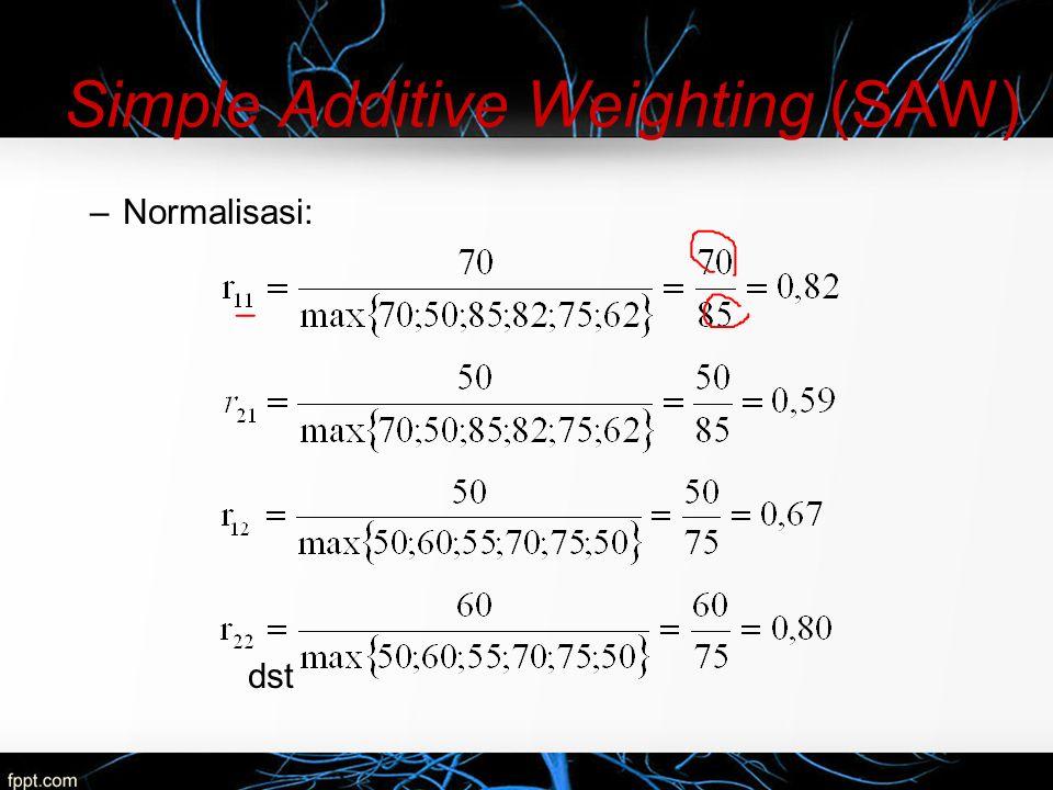 –Nilai vektor V yang akan digunakan untuk perankingan dapat dihitung sebagai berikut: –Nilai terbesar ada pada V2 sehingga alternatif A2 adalah alternatif yang terpilih sebagai alternatif terbaik.
