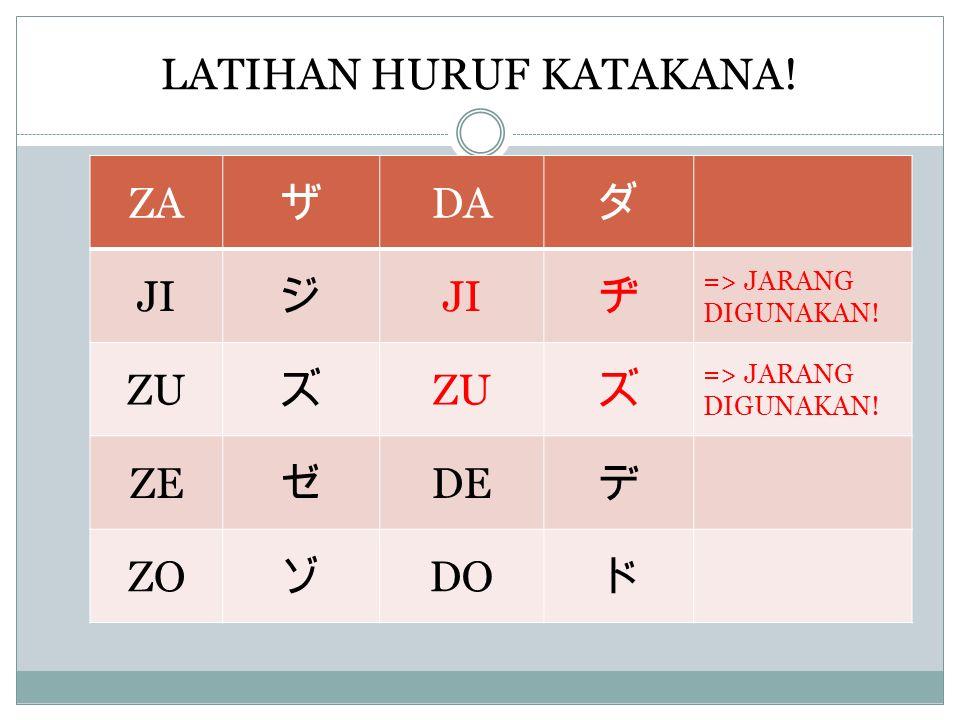 LATIHAN HURUF KATAKANA.ZA ザ DA ダ JI ジ ヂ => JARANG DIGUNAKAN.