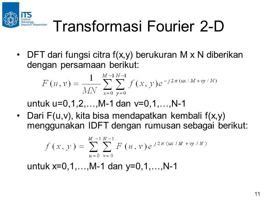 11 Transformasi Fourier 2-D DFT dari fungsi citra f(x,y) berukuran M x N diberikan dengan persamaan berikut: untuk u=0,1,2,…,M-1 dan v=0,1,…,N-1 Dari F(u,v), kita bisa mendapatkan kembali f(x,y) menggunakan IDFT dengan rumusan sebagai berikut: untuk x=0,1,…,M-1 dan y=0,1,…,N-1