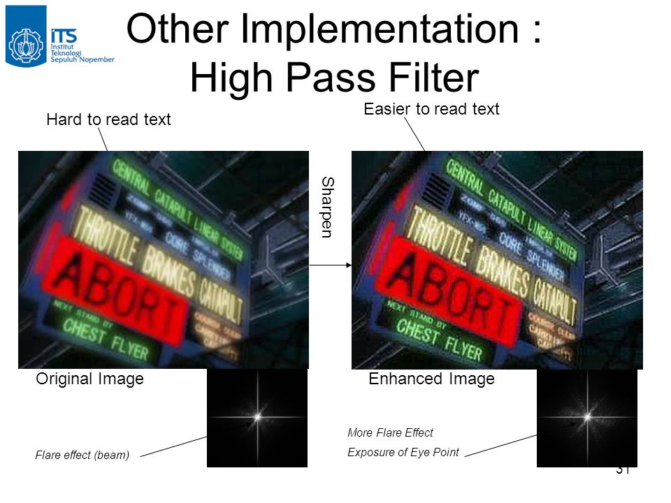 31 Other Implementation : High Pass Filter Original Image Hard to read text Sharpen Easier to read text Enhanced Image Flare effect (beam) More Flare